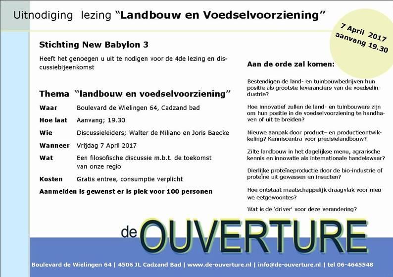 NEW BABYLON 3 -lezing landbouw en voedselvoorziening